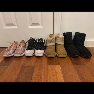 Bundle of 2 Uggs, 1 Jordan's, and 1 sparkly shoes.
